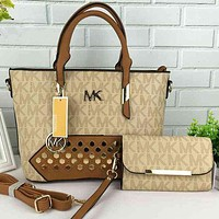 MK Women Shopping Bag Leather Tote Handbag Shoulder Bag Beige