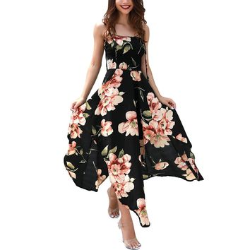 Women Summer Dress Sexy Suspenders Elastic Knots Irregular Floral Off Shoulder Casual Long Maxi Skirt for Beach Party Holiday