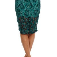 Lace Midi Bodycon Skirt - Teal