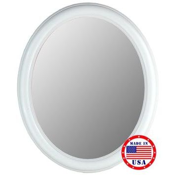 Hitchcock Butterfield Floral Glossy White Oval Framed Wall Mirror