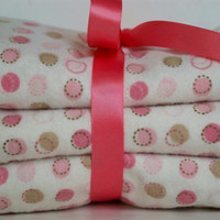 Baby girl burp cloths set of three pink and beige