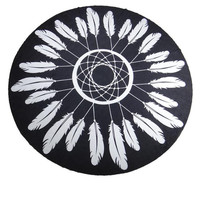 Feather Print Tapestry Beach Towel Beach Yoga Mat Decor Boho 12621 Diameter 150cm