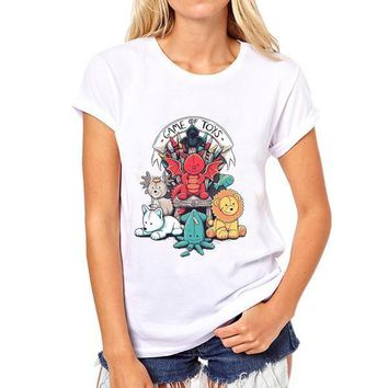 Women Iron Throne Print Summer T-shirt Short Sleeves Casual Tees Tops Girl Larg Plus Size Funny Game Of Thrones  Couple Clothes