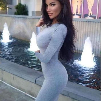 Fashion Solid Color Package hip Round Neck Bodycon Long Sleeve Maxi Dress