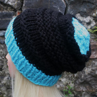 Hand Knit Hat- OceanShell Hat - Women's hat- slouchy -beanie hat-  black and blue- winter hat