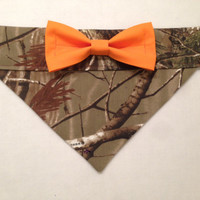 Dog Bandana - Camo Print with Orange Bow