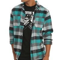 RUDE Teal Black & Grey Plaid Woven