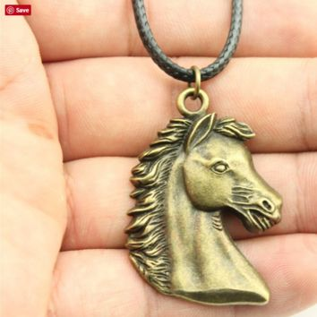 Antique Bronze Horse Pendant Leather Necklace