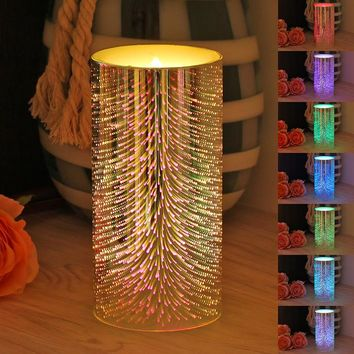 1Pcs colorful seven color changing Flameless Candles LED Candle scented velas bougie for halloween birthday Wedding decoration