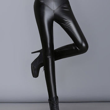 Black High Waist Skinny Faux Leather Leggings