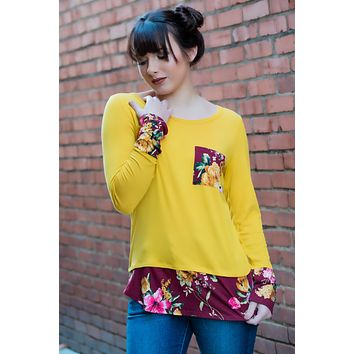 Yellow Floral Pocket Tee