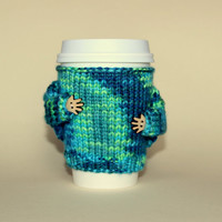 Travel mug cozy. Coffee cozy. Knitted cup sleeve. Teal Aqua Office coffee. Eco-friendly cup sleeve with arms. Gift idea Starbucks cup holder