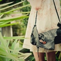 OOAk Super Soft Black Deer Leather Woodland Bag by spirocreations