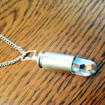 Crystal Ammo Casing pendant - Spent bullet casing with raw crystal charm on matching necklace - healing, spirituality, meditation, energy