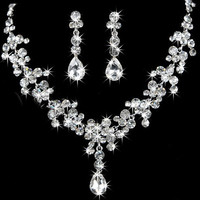 Stylish Shiny New Arrival Gift Accessory Earrings Set Wedding Dress Jewelry Necklace [6586375239]