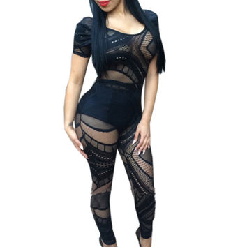 Black Sheer Lace Short Sleeve Jumpsuit