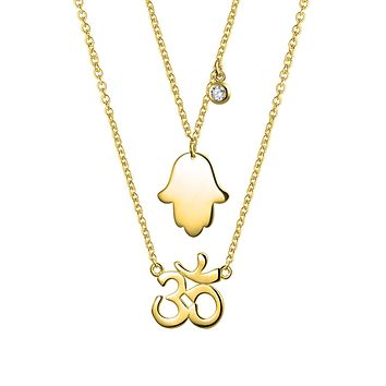 Hamsa Hand Aum Om Pendant Necklace 14K Gold Plated Sterling Silver