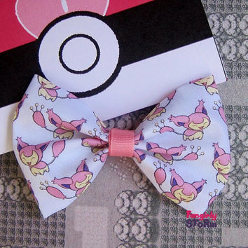 Pokemon Skitty  Hair bow/ Bow tie Handmade unique  Geeky Kawaii Gamer Bow
