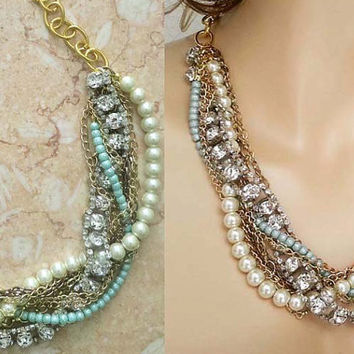 Chunky Necklace Wedding Dress, Chunky Rhinestone and Pearl Necklace, Turquoise