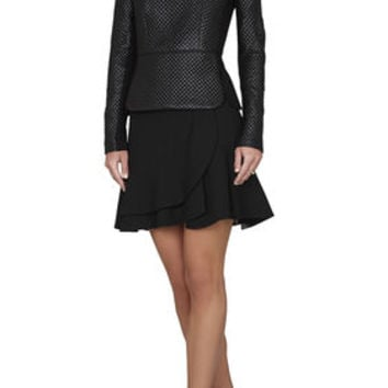 Marlee Long-Sleeve Quilted Faux-Leather Top