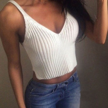 Knit Crop Tops Women Slim Sling Tank Top Camis Blouse Sport Vest