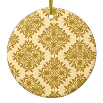 Golden Brown Damask Pattern Circle Ornament