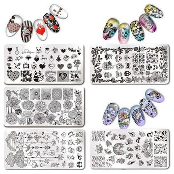 ICIKU7Q Unicorn Nail Stamping Plate Rectangle Image Plate Stainless Steel Nail Stamp Plates Manicure Stencil Stamp Polish Tools