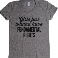 Girls just wanna have fundamental rights-Athletic Grey T-Shirt