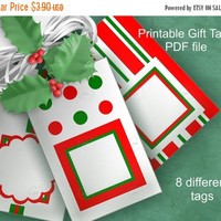 X-mas in July SALE 50%Off Holiday Gift Tags, Printable Tags, Festive Red White Green, DIY Christmas Present Wrap, X-Mas Printables, Instant