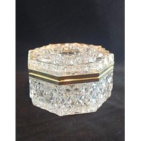 Glass Trinket Box With Gold Hinge Lid