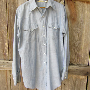 80s Chambray Western Workshirt by Key Imperial, Men's L-XL // Vintage Long Sleeve Denim Blue Work Shirt
