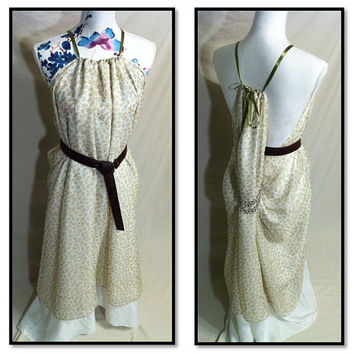 """Game of thrones inspired """"King's Landing handmaiden dress"""". Ivory 2-layer Shae/Ros gown w print overlay. LARP/cosplay. Fantasy/ Goddess Gown"""