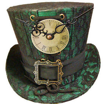 Steampunk madhatter Hand made green/black lace Top Hat