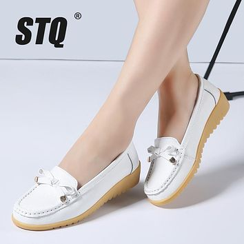 STQ 2017 spring women genuine leather ballet flats casual shoes round toe flats slip on loafers casual flats boat shoes 857