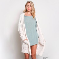 open-front long-line cardigan - cream