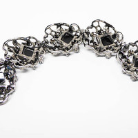 Vintage Silver Tone Link Bracelet - Black Square Lucite Cabs & Teal Blue Ball Beads - Clear Rhinestones - Opened Work Leaves Links - 1950s