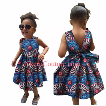 Kids dashiki Traditional cotton African Print Dresses Matching Africa Print Dresses  BU778