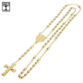 """Jewelry Kay style 4 mm Rosary Stainless Steel in Gold Guadalupe Jesus Cross 26"""" Necklace SPY 502 G"""