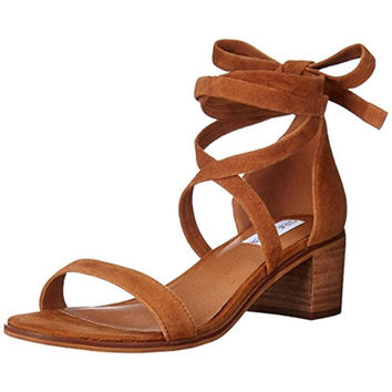 Steve Madden Womens Rizzaa Suede Stacked Heel Dress Sandals