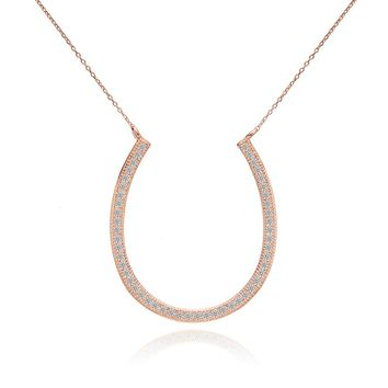 BELLA Fashion 925 Sterling Silver Lucky Horseshoe Bridal Necklace Cubic Zircon Chain Necklace Rose Gold Tone For Party Jewelry