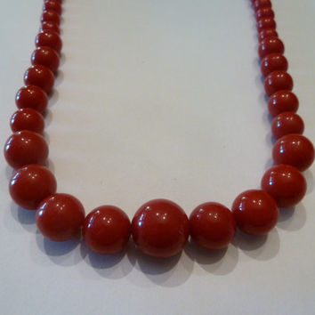Vintage Red Dense Plastic Bead Necklace Costume Jewelry Perfect for Summer