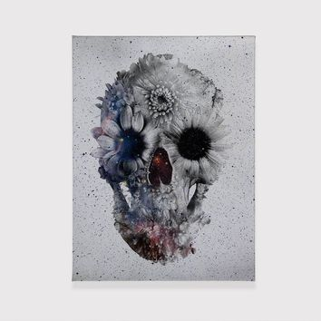 Floral Skull Canvas Print, Flower Skull Canvas Wall Decor, Black And White Skull Ready To Hang Wall Art