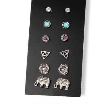 Round Vintage Jewel Punk Stud Earrings 6 Pair Set