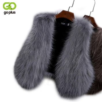 GOPLUS 2017 New Winter Women's Faux Fox Fur Vest Long Furry Shaggy Woman Fake Fur Vest Fashion Plus Size Fur Vests High Quality