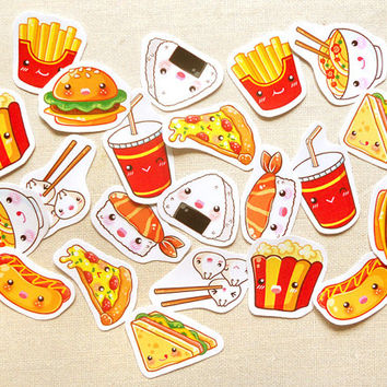 Cute Food Planner Stickers- Kawaii Hamburger & Fries Planner Sticker Pack of 30, Calender Agenda, Filofax Stickers, Cute Fast Food Sticker