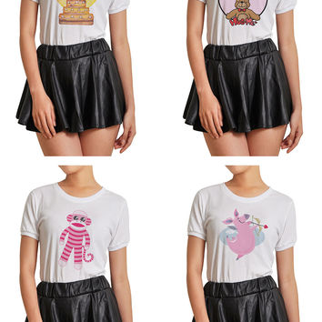 Women Cute Animals Graphic Printed Short Sleeves T- Shirt WTS_07