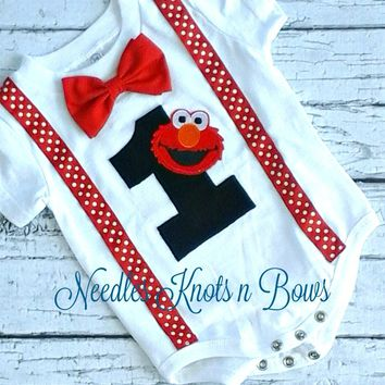 Boys Elmo Birthday Onsie, Baby Boys First Birthday Elmo Onesuit, Elmo Birthday Bodysuit