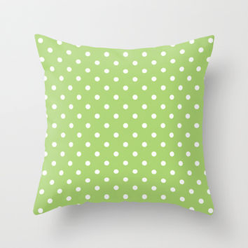 Cute, cool, classic, trendy, fresh  lime green and white polka dots graphic pattern. Throw Pillow by PatternWorld