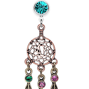 Majestic Elegance Dream Catcher Belly Button Ring