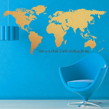 World map Wall decal - Silver World Map - Gold World Map - Cooper World map - Large World Map with quote - Modern Wall Decal - Office decor
